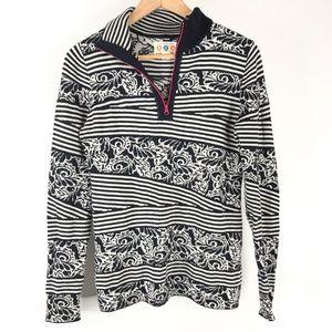 Title Nine Sweater Half Zip Stripe Pullover Knit